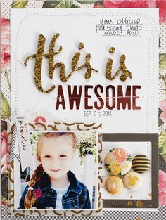 Michelle Wedertz layout - This is Awesome - I love the clustering of brads in the chipboard frame!