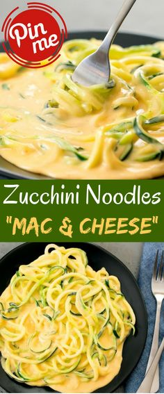"""Zucchini Noodles """"Mac & Cheese"""" Zucchini Noodles Macintosh and Cheese A low carb adaptation of macaroni and cheddar utilizing zucchini noodles. The zucchini are covered in a delectable rich cheddar sauce. Side Dish Recipes, Low Carb Recipes, Vegetarian Recipes, Dinner Recipes, Healthy Recipes, Clean Eating Recipes, Healthy Eating, Mac And Cheese Healthy, Keto Diet Vegetables"""