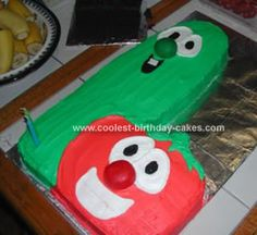 Homemade Bob And Larry Veggietales Cake: Hello from Bob and Larry! This Bob and Larry Veggietales cake is a great cake to make with your extra big sheet pan.  I got the image idea from a Veggietales