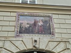 Painted detail of building, Prague 1