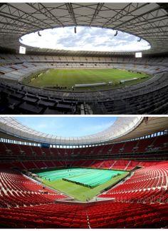 Arriba: Estadio Mineirao de #BeloHorizonte. Capacidad: 69.950 personas. Abajo: Estadio Nacional de #Brasilia (capital de #Brasil),  también conocido como Mané Garrincha. Aforo: 70.807 personas.
