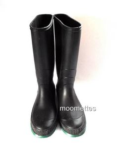 0a43fe53a15 Womens Black Tall Rain Boots Rainboots Garden All Weather Shoes Size 10