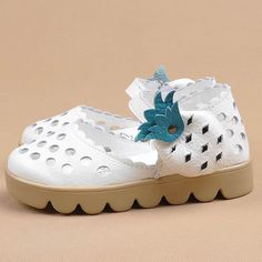 Cute White Cowhide Leather Girls Holiday Birthday Party Sandals Shoes SKU-133234