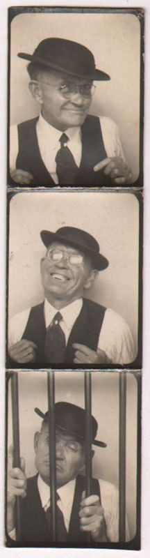 Vintage Photobooth. A guy with a good sense of humor.
