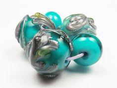 Lily blue sculptural floral lampwork bead set by KitzbitzArtBeads, £13.50