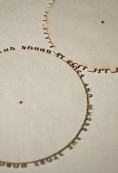 "mario klingemann - typographical gears (2011). ""round and round and round it goes and where she stops, nobody knows."""