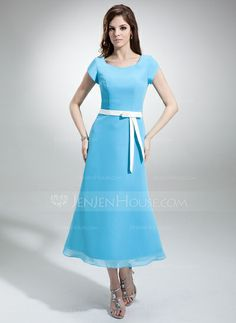 Bridesmaid Dresses - $99.99 - A-Line/Princess V-neck Tea-Length Chiffon Satin Bridesmaid Dress With Sash (007001487) http://jenjenhouse.com/A-Line-Princess-V-Neck-Tea-Length-Chiffon-Satin-Bridesmaid-Dress-With-Sash-007001487-g1487