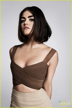 Lucy Hale perfects the bob in this new shot from her feature with Yahoo Style. The 25-year-old actress opened up to the site about Pretty Little Liars