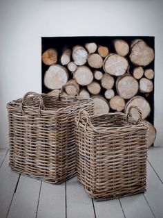 Two Square Rattan Baskets