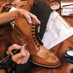Rose Tattoo design on tan leather Wren brogue boots. Sweeney Tattoo exclusive at… Rose tattoo design on light brown leather wren brogue boots. Sweeney Tattoo exclusive to Oliver Sweeney Leather Art, Tan Leather, Leather Shoes, Men's Shoes, Shoe Boots, Dress Shoes, Shoe Tattoos, Mens Boots Fashion, Tattoo Studio