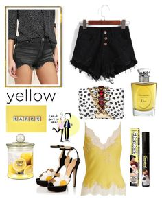 """""""Yellow 🍋"""" by julejoon on Polyvore featuring mode, Carine Gilson, GEDEBE, Christian Dior, Signature 8 en TheBalm"""