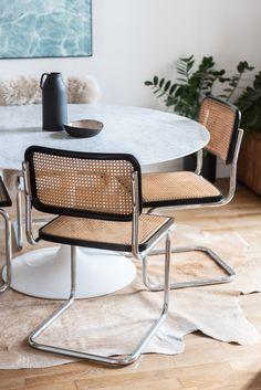 The Socialite Family | Breuer & Knoll #thesocialitefamily #lifestylemagazine #interiordesign #hometour #selency #interiorinspiration #homedecor #paris #montmartre #parisianapartment #diningroom #marcelbreuer #breuerchair #b32chair #diningtable #knoll #tuliptable #saarinen #marble #animalcarpet Decoration Inspiration, Interior Inspiration, Decor Ideas, Tulip Table, Marcel Breuer, Parisian Apartment, Brighton Apartment, Apartment Living, Mid Century Modern Furniture