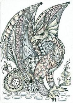 Tangled Dragon- by Norma Burnell, Certified Zentangle Teacher