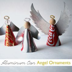 Eco angeles con latas de refresco - Make Aluminum Can Angel Ornaments Christmas Ornaments To Make, Handmade Christmas Gifts, How To Make Ornaments, Homemade Christmas, Christmas Angels, African Christmas, Christmas Decorations, Christmas Tree, Pop Can Crafts