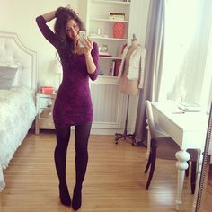 mimi ikonn style Black pumps + black tights + longsleeve bodycon dress