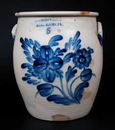 Outstanding COWDEN & WILCOX / HARRISBURG, PA Five-Gallon Jar w/ Profuse Decoration