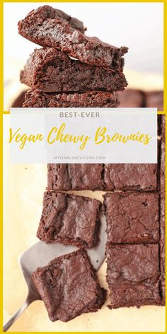 These fool-proof easy vegan brownies are unbelievably rich and fudgy on the inside with a beautifully cracked topped and a delightful bite for the perfect sweet treat everyone can enjoy. Vegan Dessert Recipes, Brownie Recipes, Eggless Recipes, Cookie Recipes, Vegan Treats, Vegan Foods, Chewy Brownies, Easy Vegan Brownies, Boxed Brownies