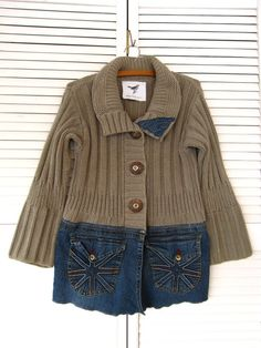 Jacket upcycled clothing Funky denim sweater by lillienoradrygoods