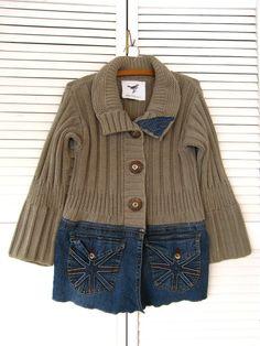 Jacket upcycled clothing Funky denim sweater up cycled clothing Eco Artsy spring…