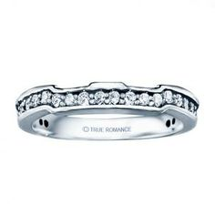 0.13ct Round Diamond Matching Band In 14k White Gold with groves and offsets to match its corresponding ring.