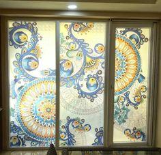 Ethnic print customized glass film for window glass decoration.