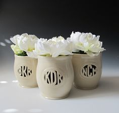 Small Monogrammed Handmade Vases - great wedding gift idea