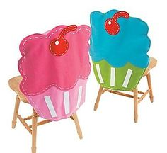 Cupcake chair covers - perfect for children's birthday parties or a tea party