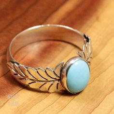 Sterling Silver Feather Turquoise Ring