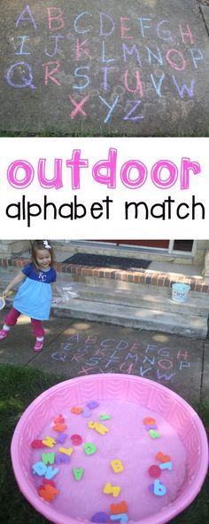 Match for Toddlers Outdoor Alphabet Match for Toddlers: Such a fun activity for teaching letter recognition to toddlers and preschoolers!Outdoor Alphabet Match for Toddlers: Such a fun activity for teaching letter recognition to toddlers and preschoolers! Toddler Play, Toddler Learning, Preschool Learning, Toddler Preschool, Fun Learning, Learning Activities, Toddler Alphabet, Alphabet For Toddlers, Baby Play