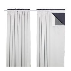 IKEA - GLANSNÄVA, Curtain liners, 1 pair, $19.99, 56x94, The densely woven curtain liners darken the room and provide privacy by preventing people outside from seeing into the room.Effective at keeping out both drafts in the winter and heat in the summer.You can use the included hooks to attach the curtain liners to the heading tape on your curtains.The heading also has hidden tabs that allow you to hang the curtain liners directly on a curtain rod.