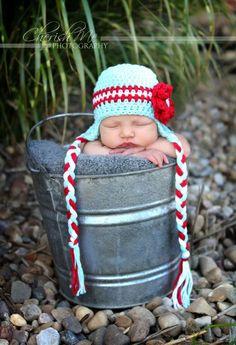 Crochet Earflap Photography Prop Hat for Newborn Girls. $18.00, via Etsy.
