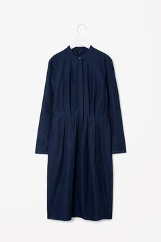 Pleated waist shirt dress