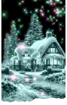 Merry Christmas Gif, Christmas Scenery, Blue Christmas, Vintage Christmas Cards, Country Christmas, Christmas Wishes, Christmas Pictures, Christmas Greetings, Winter Christmas