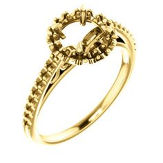 14kt Yellow  6.5mm Round Engagement Ring Mounting