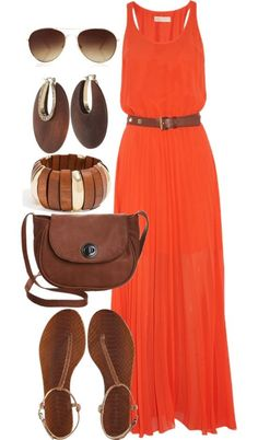 I already have a mini maxi orange dress to create this outfit with! I already have a mini maxi orange dress to create this outfit with! Mode Outfits, Casual Outfits, Summer Outfits, Fashion Outfits, Womens Fashion, Fashion Trends, Summer Maxi Dress Outfit, Orange Dress Summer, Outfits 2014