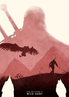 the witcher 3 wild hunt video game gamer gaming red pink griffin man sword fight monster mountain grass land rpg fantasy minimal minimalism minimalist