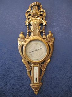 """http://www.antiquites-en-france.com/uploads/items/detail_maxi/ab196e9c1f8a938113886784ee632eeb6571833c.jpg Barometer signed """"At Filleta"""". Share on emailForward  Carved and gilded. France. Eighteenth century. According to Torricelli (1608 - 1647) and Reaumur (1683-1757). Width: 39 Height: 100 Depth: 5.5  Category: old Barometers Style: Louis XVI Period: 18th Century"""