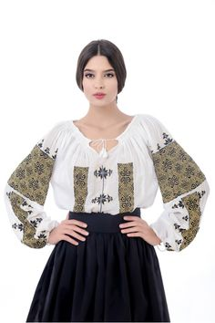 Little more formal way to wear peasant shirt Folk Fashion, Ethnic Fashion, Ukraine, Popular Costumes, Romanian Girls, Mode Alternative, Ukrainian Dress, Embroidered Clothes, Embroidered Blouse