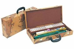 Mahjong Set With World Map Theme & Pushers is truly a wonderful set! With its attractive, sturdy & unique case, and all the accessories needed, plus 4 pushers for added convenience, it makes for a game that'll last years!