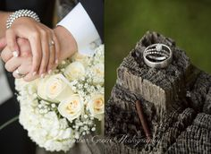 Wedding photography- St. Louis Bride and groom wedding bands. White rose bridal bouquet.