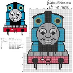 Thomas train from Thomas and Friends cartoon tv series free small cross stitch pattern - free cross stitch patterns by Alex
