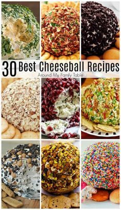 The Best Cheeseball Recipes - Around My Family Table 30 of the best cheeseball recipes, from appetizers to desserts, that are all you'll need for the perfect dish for your next party. Finger Food Appetizers, Yummy Appetizers, Appetizers For Party, Christmas Appetizers, Finger Foods, Best Appetizer Recipes, Christmas Party Food, Parties Food, Cheese Appetizers