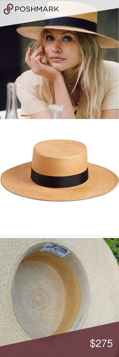 "LOC🌿 Handwoven ""The Cruz Panama"" Lack of Color Australia   Easy to wear, flattering style. Never worn, perfect condition.   Handwoven Panama straw boater in Mustard.  Trimmed with Black silk ribbon 100% Toquilla straw Handmade by artisans in Ecuador Brim measures 9 cm / 3.55"" Sizing M/L = 57 cm – 58 cm  Passing through 20 artisans during the crafting of this hat, it is unique in construction and truly one of a kind.  No longer in production, sold out everywhere. 🏵️ Lack of Color…"