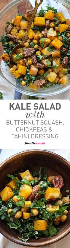 This recipe combines crunchy sweet pecans with roasted butternut squash and chickpeas to add plenty of protein to this healthy kale salad | http://foodiecrush.com