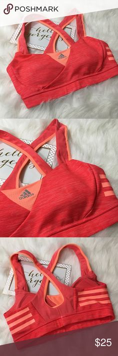 Adidas Cross Back Sports Bra Orange Sz Small This Adidas cross-back sports bra is in like-new condition! Worn once!  Women's size small. Sewn in molded cups. Fit is true to size. Adidas Intimates & Sleepwear Bras