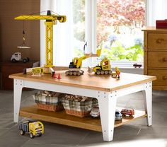 Metal and Wood Activity Table It would look better in my living room with all her toys on the shelf on the bottom Deck Furniture, Leather Furniture, My Living Room, Interior Design Living Room, Living Spaces, Kids Craft Tables, Carpet Installation, Buy Furniture Online, Pottery Barn Kids