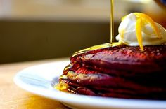 Beautiful Red Velvet Pancakes with Mascarpone Spread and Lemon Zest. Shut the front door!