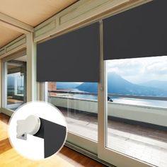 casa pura® Verdunkelungsrollo - lichtundurchlässig - für breite Fenster in fünf Größen | Schwarz | 80x230cm