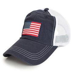 American Flag Trucker Hat in Navy by State Traditions