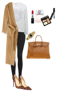 """""""Camel Szn"""" by elisa23e on Polyvore featuring Topshop, Kenzo, Fall Winter Spring Summer, Christian Louboutin, Hermès, Casio, MAC Cosmetics, Christian Dior, Bobbi Brown Cosmetics and women's clothing"""